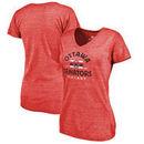 Ottawa Senators Fanatics Branded Women's Timeless Collection Vintage Arch Tri-Blend V-Neck T-Shirt - Red