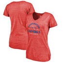 Washington Capitals Fanatics Branded Women's Timeless Collection Vintage Arch Tri-Blend V-Neck T-Shirt - Red