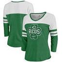 Cincinnati Reds Fanatics Branded Women's St. Patrick's Day Emerald Isle Color Block 3/4 Sleeve Tri-Blend T-Shirt - Kelly Green