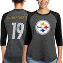 JuJu Smith-Schuster Pittsburgh Steelers Majestic Women's Player Name & Number Tri-Blend 3/4-Sleeve Raglan T-Shirt - Black