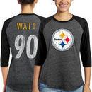 T.J. Watt Pittsburgh Steelers Majestic Women's Player Name & Number Tri-Blend 3/4-Sleeve Raglan T-Shirt - Black