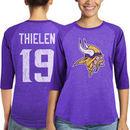 Adam Thielen Minnesota Vikings Majestic Women's Player Name & Number Tri-Blend 3/4-Sleeve Raglan T-Shirt - Purple
