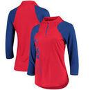 New York Rangers G-III 4Her by Carl Banks Women's Zip It Up Quarter-Zip Long Sleeve T-Shirt – Red/Royal