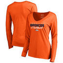 Denver Broncos NFL Pro Line by Fanatics Branded Women's Iconic Collection Script Assist Long Sleeve V-Neck T-Shirt - Orange
