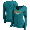 Miami Dolphins NFL Pro Line by Fanatics Branded Women's Iconic Collection Script Assist Long Sleeve V-Neck T-Shirt - Aqua