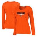 Denver Broncos NFL Pro Line by Fanatics Branded Women's Iconic Collection Script Assist Plus Size Long Sleeve T-Shirt - Orange