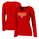 Kansas City Chiefs NFL Pro Line by Fanatics Branded Women's Iconic Collection Script Assist Plus Size Long Sleeve T-Shirt - Red