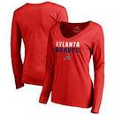 Atlanta Braves Fanatics Branded Women's Fade Out V-Neck Long Sleeve T-Shirt - Red