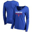 Philadelphia Phillies Fanatics Branded Women's Fade Out V-Neck Long Sleeve T-Shirt - Royal