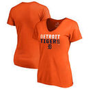 Detroit Tigers Fanatics Branded Women's Fade Out Plus Size V-Neck T-Shirt - Orange