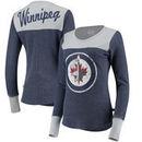 Winnipeg Jets Touch by Alyssa Milano Women's Blindside Thermal Long Sleeve Tri-Blend T-Shirt – Navy