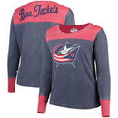 Columbus Blue Jackets Touch by Alyssa Milano Women's Plus Size Blindside Tri-Blend Long Sleeve Thermal T-Shirt - Navy/Red