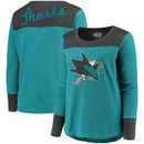 San Jose Sharks Touch by Alyssa Milano Women's Plus Size Blindside Tri-Blend Long Sleeve Thermal T-Shirt - Teal/Black