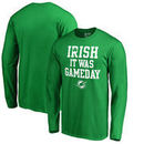 Miami Dolphins NFL Pro Line by Fanatics Branded St. Patrick's Day Irish Game Day Long Sleeve T-Shirt - Kelly Green