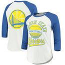 Golden State Warriors Junk Food Women's All-American Raglan 3/4-Sleeve T-Shirt – White/Royal