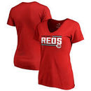Cincinnati Reds Fanatics Branded Women's Onside Stripe V-Neck T-Shirt - Red