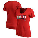 Los Angeles Angels Fanatics Branded Women's Onside Stripe V-Neck T-Shirt - Red