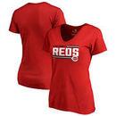 Cincinnati Reds Fanatics Branded Women's Onside Stripe Plus Size V-Neck T-Shirt - Red