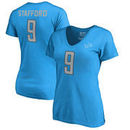 Matthew Stafford Detroit Lions NFL Pro Line by Fanatics Branded Women's Authentic Stack Name & Number V-Neck T-Shirt – Blue