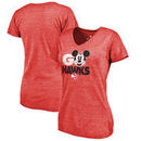 Atlanta Hawks Fanatics Branded Women's Disney Rally Cry Tri-Blend V-Neck T-Shirt - Red