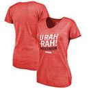 Wisconsin Badgers Fanatics Branded Women's Hometown Collection U Rah Tri-Blend V-Neck T-Shirt - Red