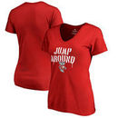 Wisconsin Badgers Fanatics Branded Women's Hometown Collection Jump Around V-Neck T-Shirt - Red