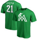 Christian Yelich Miami Marlins Fanatics Branded St. Patrick's Day Stack Name & Number T-Shirt - Kelly Green