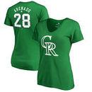 Nolan Arenado Colorado Rockies Fanatics Branded Women's St. Patrick's Day Stack V-Neck Name & Number T-Shirt - Kelly Green