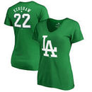 Clayton Kershaw Los Angeles Dodgers Fanatics Branded Women's St. Patrick's Day Stack V-Neck Name & Number T-Shirt - Kelly Green
