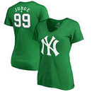 Aaron Judge New York Yankees Fanatics Branded Women's St. Patrick's Day Stack V-Neck Name & Number T-Shirt - Kelly Green