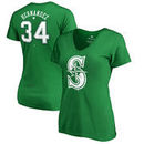 Felix Hernandez Seattle Mariners Fanatics Branded Women's St. Patrick's Day Stack V-Neck Name & Number T-Shirt - Kelly Green