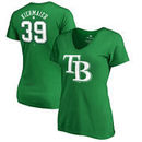Kevin Kiermaier Tampa Bay Rays Fanatics Branded Women's St. Patrick's Day Stack V-Neck Name & Number T-Shirt - Kelly Green
