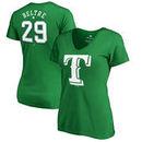 Adrian Beltre Texas Rangers Fanatics Branded Women's St. Patrick's Day Stack V-Neck Name & Number T-Shirt - Kelly Green