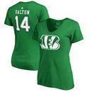 Andy Dalton Cincinnati Bengals NFL Pro Line by Fanatics Branded Women's St. Patrick's Day Icon V-Neck Name & Number T-Shirt - Ke