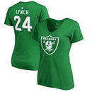 Marshawn Lynch Oakland Raiders NFL Pro Line by Fanatics Branded Women's St. Patrick's Day Icon V-Neck Name & Number T-Shirt - Ke