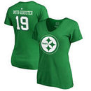 JuJu Smith-Schuster Pittsburgh Steelers NFL Pro Line by Fanatics Branded Women's St. Patrick's Day Icon V-Neck Name & Number T-S