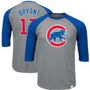 Kris Bryant Chicago Cubs Majestic Big & Tall Player Raglan 3/4-Sleeve T-Shirt – Heathered Gray/Royal