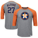 Jose Altuve Houston Astros Majestic Big & Tall Player Raglan 3/4-Sleeve T-Shirt – Heathered Gray/Orange