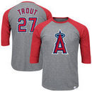 Mike Trout Los Angeles Angels Majestic Big & Tall Player Raglan 3/4-Sleeve T-Shirt – Heathered Gray/Red