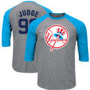 Aaron Judge New York Yankees Majestic Big & Tall Player Raglan 3/4-Sleeve T-Shirt – Heathered Gray/Light Blue