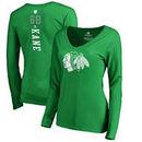 Patrick Kane Chicago Blackhawks Fanatics Branded Women's St. Patrick's Day Backer Name & Number Slim Fit Long Sleeve T-Shirt – K