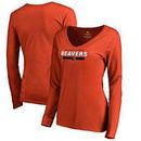 Oregon State Beavers Fanatics Branded Women's Team Strong Long Sleeve V-Neck T-Shirt - Orange