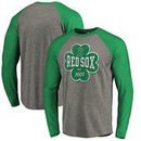 Boston Red Sox Fanatics Branded St. Patrick's Day Emerald Isle Long Sleeve Tri-Blend Raglan T-Shirt - Ash