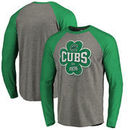 Chicago Cubs Fanatics Branded St. Patrick's Day Emerald Isle Long Sleeve Tri-Blend Raglan T-Shirt - Ash