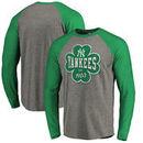 New York Yankees Fanatics Branded St. Patrick's Day Emerald Isle Long Sleeve Tri-Blend Raglan T-Shirt - Ash
