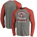 Alabama Crimson Tide Fanatics Branded Gymnastics Anniversary Long Sleeve Tri-Blend Raglan T-Shirt - Heathered Gray/Crimson