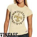 Mitchell & Ness New Orleans Saints Women's Vintage Graphic Premium T-Shirt - Natural