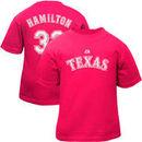 Majestic Josh Hamilton Texas Rangers #32 Infant Girls Name & Number T-Shirt - Hot Pink