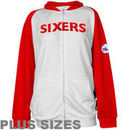 Majestic Philadelphia 76ers Womens Raglan Full Zip Plus Sizes Hoodie - White/Red