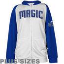 Majestic Orlando Magic Womens Raglan Full Zip Plus Sizes Hoodie - White/Royal Blue